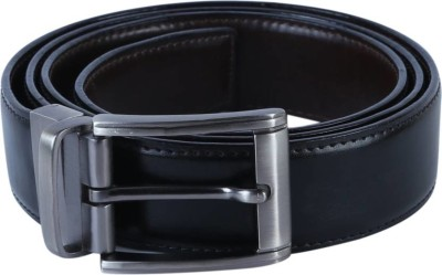 TIE   CUFFS Men Party, Formal Brown, Black Artificial Leather Reversible Belt