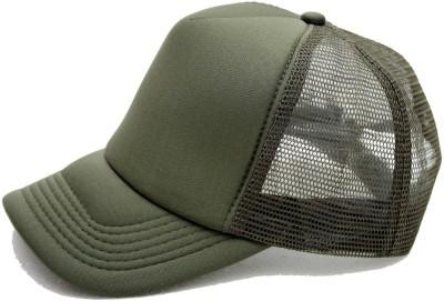 ODDEVEN Solid Green Solid Half Net, Baseball, Trucker Caps, Mesh cap Cap