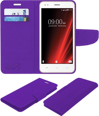 ACM Flip Cover for Lava X19 Purple, Cases with Holder