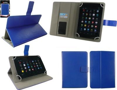 Emartbuy Wallet Case Cover for Binatone HomeSurf 742(Blue Plain, Charging Case, Artificial Leather)