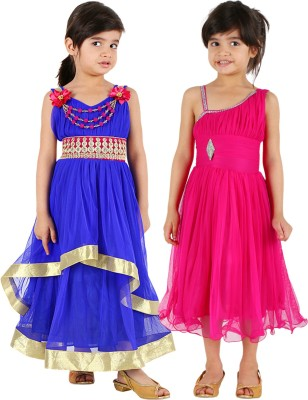 Tiny Toon Girls Midi/Knee Length Casual Dress(Pink, Sleeveless)