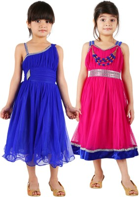 Tiny Toon Girls Midi/Knee Length Casual Dress(Blue, Sleeveless)