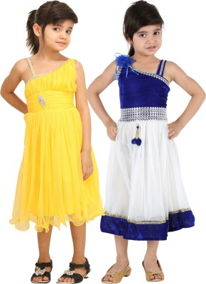 Tiny Toon Girls Midi/Knee Length Casual Dress(Yellow, Sleeveless)