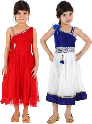 Tiny Toon Girls Midi/Knee Length Casual Dress(Red, Sleeveless)