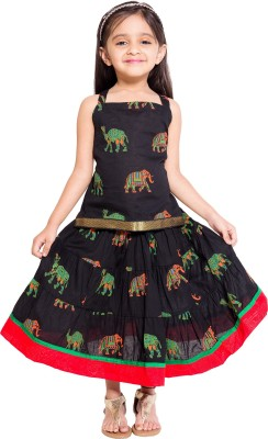 DIAMO Girl's Casual Top and Skirt Set(Black Pack of 1)
