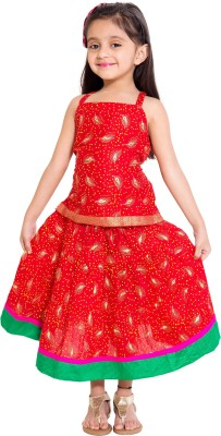 DIAMO Girl's Casual Top and Skirt Set(Red Pack of 1)