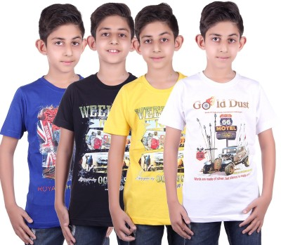 DUE-EEX Boys Printed Cotton T Shirt(Multicolor, Pack of 4) Flipkart