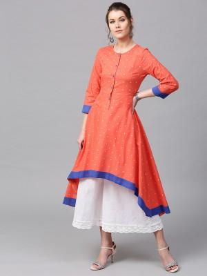 Sassafras Women Polka Print Flared Kurta(Orange, Blue)
