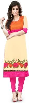 Saara Women Embroidered Straight Kurta(Beige, Orange)