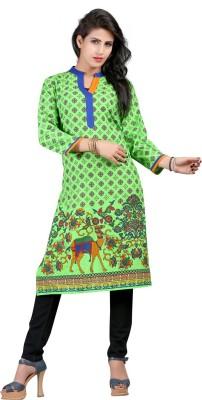Saara Women Printed, Floral Print Straight Kurta(Green)