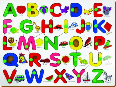 Miss & Chief English Alphabet Uppercase With Picture Beside(Multicolor)