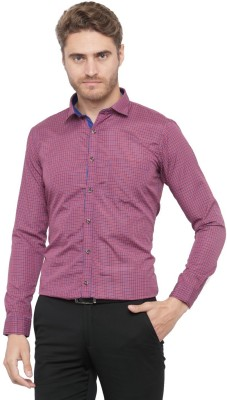 Being Fab Men's Checkered Formal Red Shirt