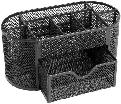 DIVINEZON 9 Compartments Steel Desk Organizer(Black)
