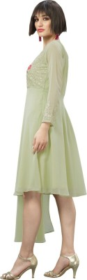 Saara Women Embroidered Flared Kurta(Green)