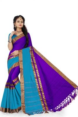 The Fashion Outlets Woven Banarasi Cotton, Silk Saree(Light Blue)