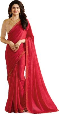 Bombey Velvat Fab Self Design, Hand Painted Daily Wear Georgette, Chiffon Saree(Red)