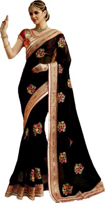 Maruti Creation Printed, Floral Print, Solid, Applique, Paisley, Self Design, Embellished, Striped Daily Wear Faux Georgette Saree(Black)