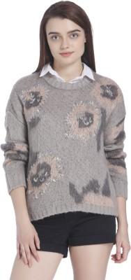 Vero Moda Printed Round Neck Casual Women Grey Sweater