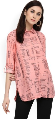 W Casual Roll-up Sleeve Printed Women