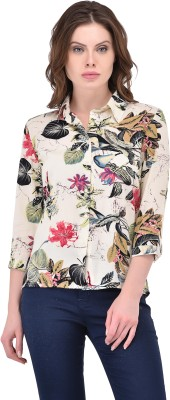 Svt Ada Collections Party 3/4 Sleeve Floral Print Women White Top