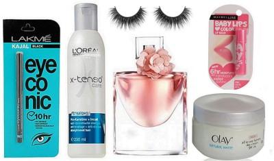 professional kit Eyelashes & L'oreal Paris X-tenso Shampoo & Lakme Eyeconic Kajal &Lancome Lavie est belle Perfume& Maybelline Pink Lolita Lipbalm& Olay Natural White Rich Day Cream(Set of 6)  available at flipkart for Rs.1799