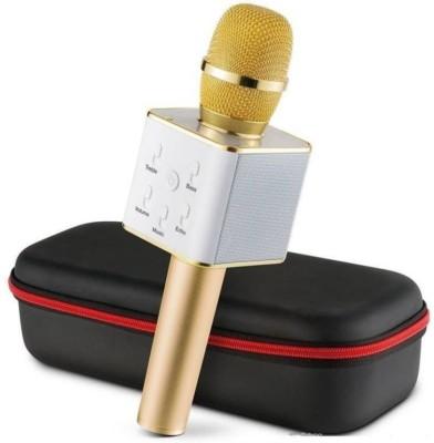 Mezire Q7 Handheld Wireless Bluetooth Karaoke Singing Mic Speaker Player Microphone (Gold) Microphone