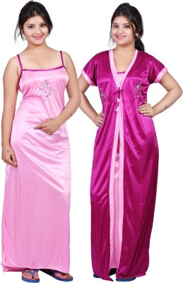 Mahaarani Women Nighty with Robe(Pink)