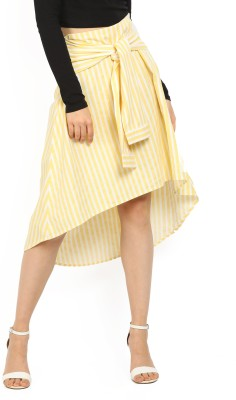 United Colors of Benetton. Striped Women Asymetric White, Yellow Skirt