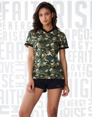Metronaut Military Camouflage Women V-neck Green T-Shirt