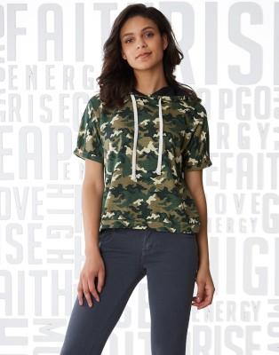 Metronaut Military Camouflage Women Hooded Green T-Shirt