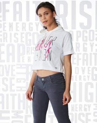 Metronaut Typography Women Hooded Multicolor T-Shirt