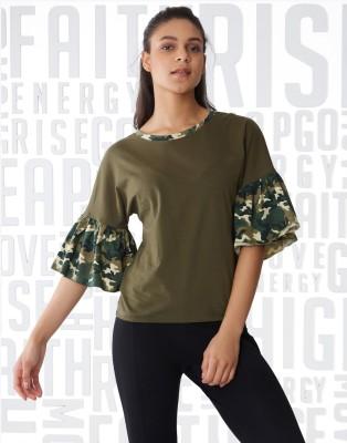 Metronaut Military Camouflage Women Round Neck Green T-Shirt