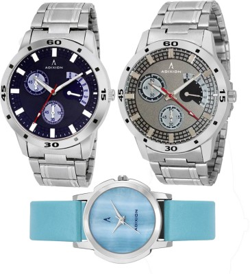ADIXION 9519SM04/9425SLM7/9519SMA2 Tri Combo Analog Watch for couple Watch  - For Men & Women