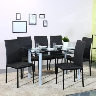 Flipkart Perfect Homes Luzon Glass 6 Seater Dining Set(Finish Color - Black)