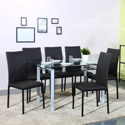 Perfect Homes by Flipkart Luzon Glass 6 Seater Dining Set  (Finish Color - Black)