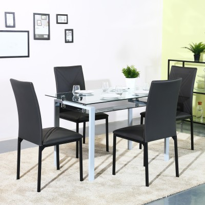 Flipkart Perfect Homes Atiu Glass 4 Seater Dining Set(Finish Color - Black)