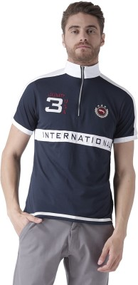 JUMP USA Solid Men Polo Neck Dark Blue T-Shirt at flipkart