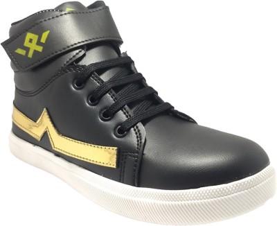 Indcrown Boys Velcro Dancing Shoes(Black)