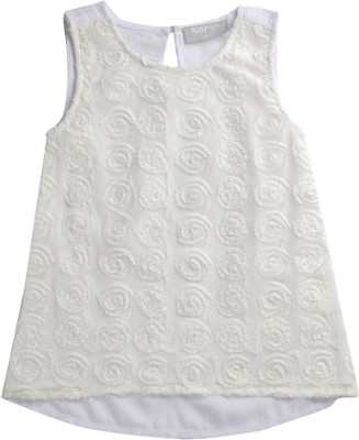 KARYN Girls Casual Cotton Top(White, Pack of 1)