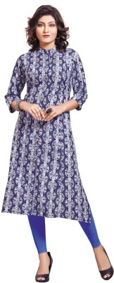 shiloh Women Printed Flared Kurta(Black, Grey)
