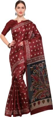 Vaamsi Printed Hand Batik Chiffon Saree(Maroon)