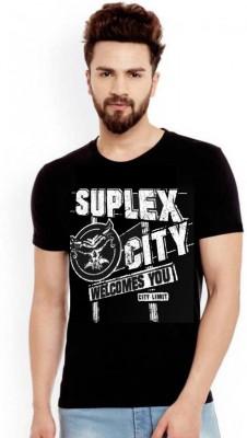 Wwe Men Tshirt Graphic Print Men Round Neck Black T-Shirt