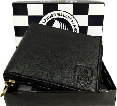 LANDER Men Black Genuine Leather Wallet 5 Card Slots