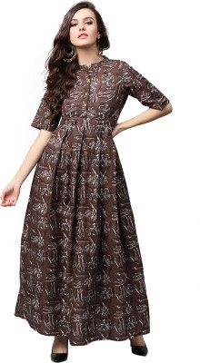 Aks Women's Maxi Brown Dress