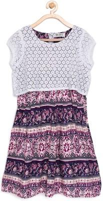 Bella Moda Girls Midi/Knee Length Casual Dress(White, Cap Sleeve)