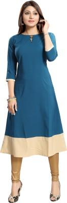 ALC Creations Women Solid A-line Kurta(Blue, Beige)