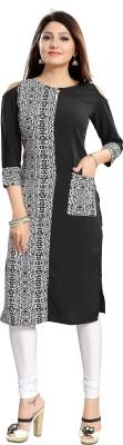 ALC Creations Women Printed Straight Kurta(Black, White)