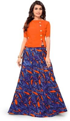 Julee Printed Semi Stitched Lehenga Choli(Blue, Orange)
