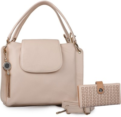 Glasy Women Casual Beige Genuine Leather Shoulder Bag