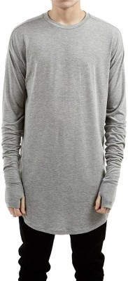 PAUSE Solid Men's & Women's Round Neck Silver T-Shirt